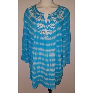 Catherines Blue White Tie Dye Shirt Tunic Top 2X